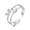 Fashion Ring 5 Pearl Round Cut Created White Diamond Knot Ring