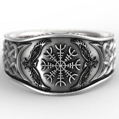 Men's Ring Viking Celtic Compass Retro Graffiti Plated S925silver Ring Men FHR102