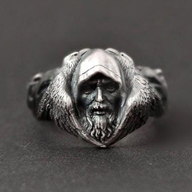 Men's Ring Scandinavian Mythology of Odin Viking Warrior Arctic Wolf Men's Ring FHR112
