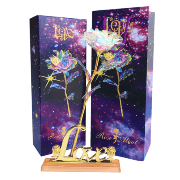 "rose Upgraded Light with base Upgraded 24k ""Galaxy"" Gold Rose ""Love You For Life"" Love Light Up With Optional Display Stand"