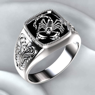 Men's Ring Scorpion Relief Men 925 Silver Ring FHR108