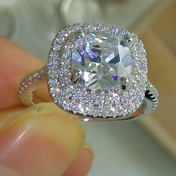 Halo Ring Cushion Cut Created Diamond Double Halo Ring
