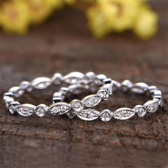 Eternity Band White Gold / US 5 Vintage Round Cut Created Diamond Full Eternity Ring