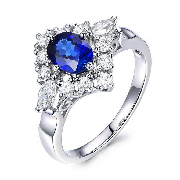 Unique Ring US4 Blue Halo Oval Cut Created Diamond Rings