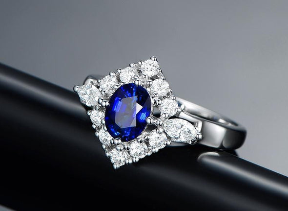 Unique Ring Blue Halo Oval Cut Created Diamond Rings