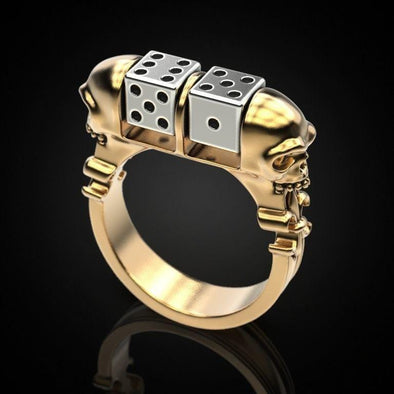 Men's Ring Creative Skull Head Rotating Dice Men's Ring FHR113