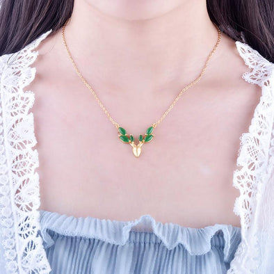 Necklace Ancient Gold Sandblasting Craft Deer Shape Chain Necklace Pendant FHN017