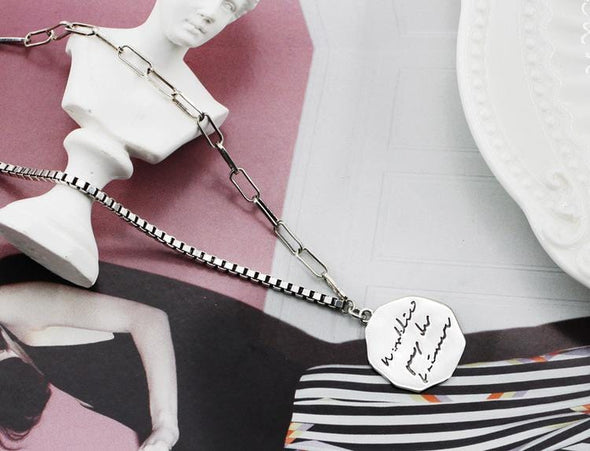 Necklace S925 Silver Retro Letter Round Shape Necklace Women Coin Chain Jewelry Gift FHN016