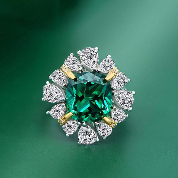 Gem Stone Ring US6 / Green Cushion Cut Halo Green/Red Created Diamond Ring