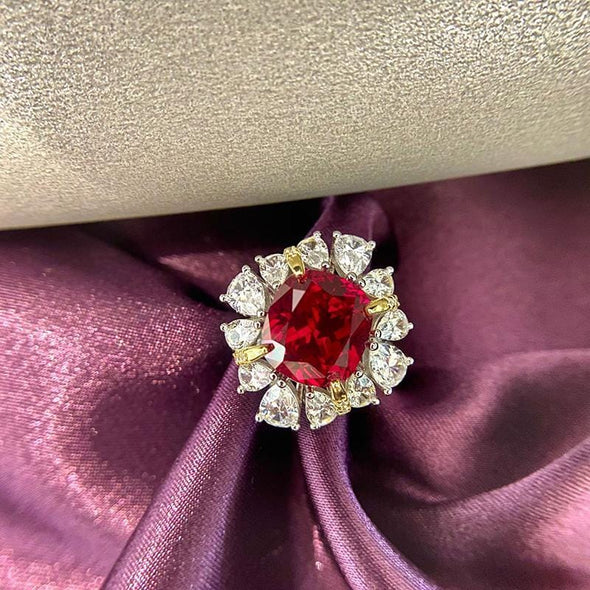 Gem Stone Ring US6 / Red Cushion Cut Halo Green/Red Created Diamond Ring