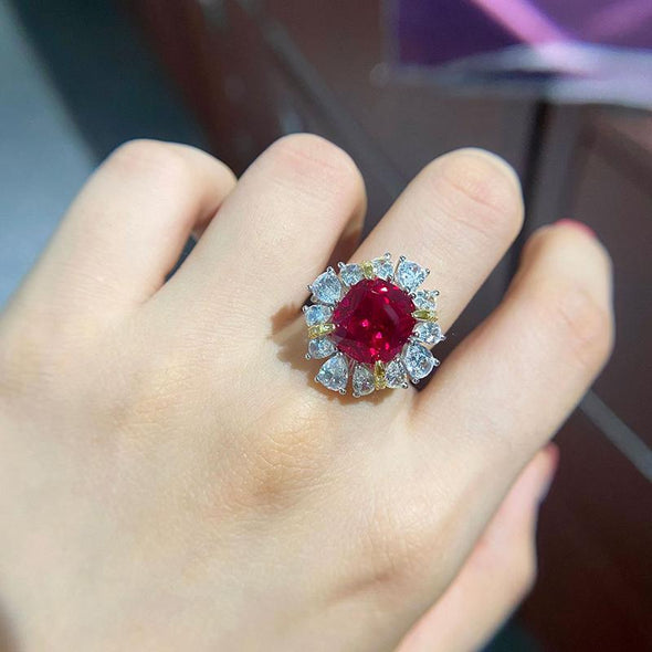 Gem Stone Ring Cushion Cut Halo Green/Red Created Diamond Ring
