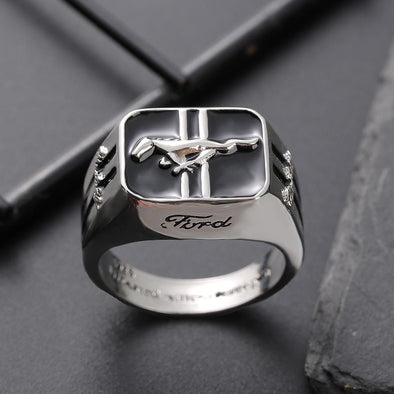 Men's Ring Ford Mustang Logo 925 Silver Plated Fashion Men Ring FHR107