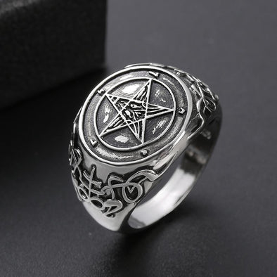 Men's Ring Men's Satan Devil Ghost Baphomet Inverted Pentagram Badge Ring FHR118