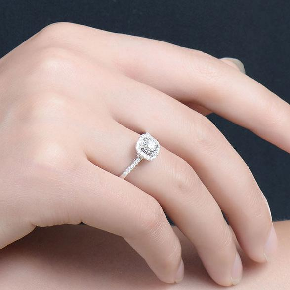 Ring Adjustable Free - 925 Sterling Silver Women Hearts & Arrows Diamond Opening Adjustable Ring FHR053