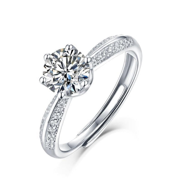 Moissanite Ring 0.5ct 0.5/1.0/2.0/3.0CT Round Brilliant Cut Moissanite Diamond Ring Adjustable Size
