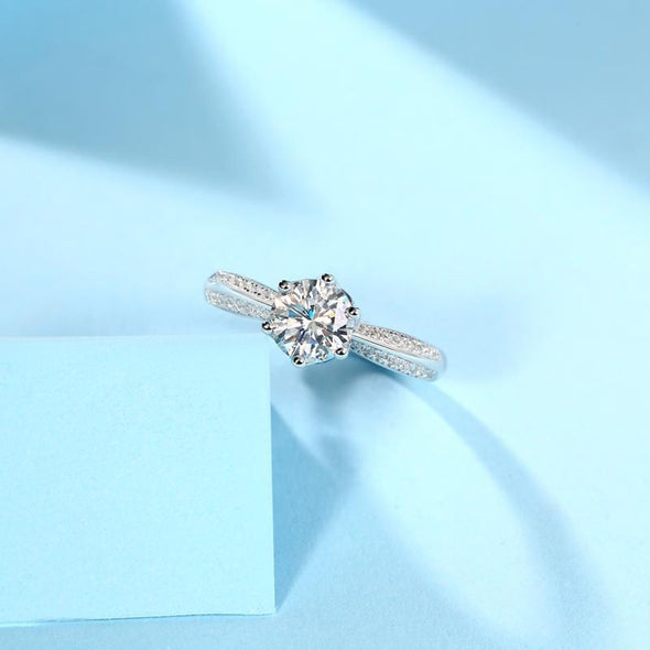 Moissanite Ring 0.5/1.0/2.0/3.0CT Round Brilliant Cut Moissanite Diamond Ring Adjustable Size