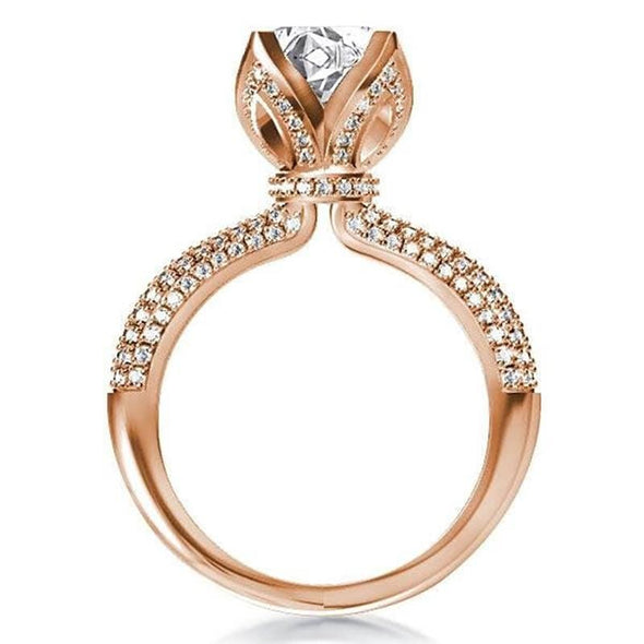 Split Shank Ring Rose Gold Lotus Created Champagne Diamond Ring