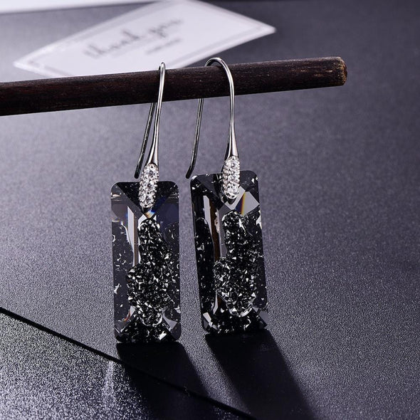 Jewelry Black Crystalline Earrings