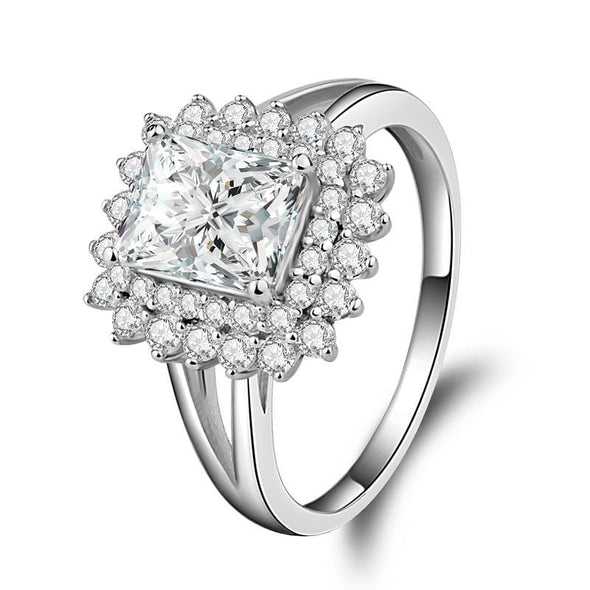 Split Shank Ring US4 Radiant Cut Double Halo Created Diamond Ring