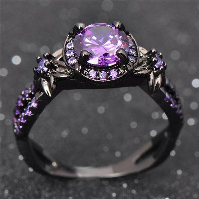 Ring Free - February Birthstone Rings For Women Black Gold Filled Amethyst Stone Ring FHR062