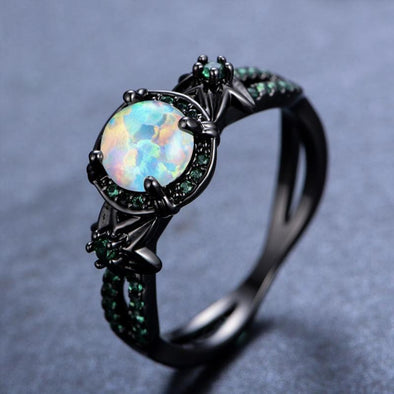 Ring Black Gold White Fire Opal Ring FHR056