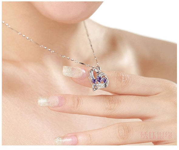 Necklace Silver Necklace Female Hears Arrows Shape Amethyst Pendant Jewelry FHN033
