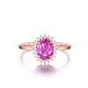Halo Ring US4 Halo Oval Created Pink Diamond Ring