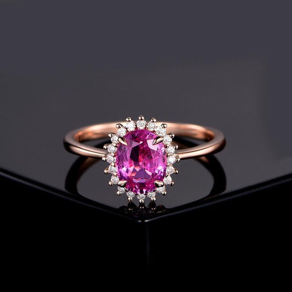 Halo Ring Halo Oval Created Pink Diamond Ring