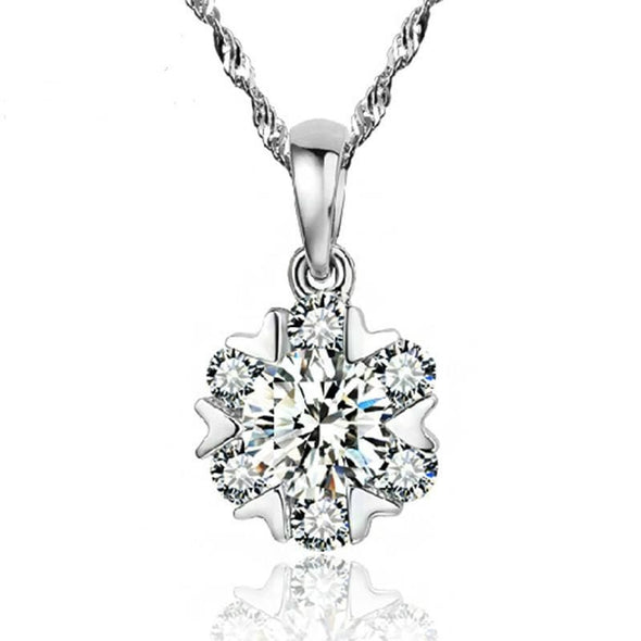 Necklace Short Women Crystal Snowflake Necklace Chain Diamond Pendant Simple Degisn Accessories FHN027