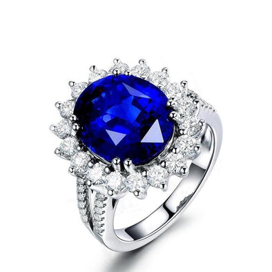 Split Shank Ring 5 Carat Round Sterling Silver Blue Created Diamond Halo Bridal Ring