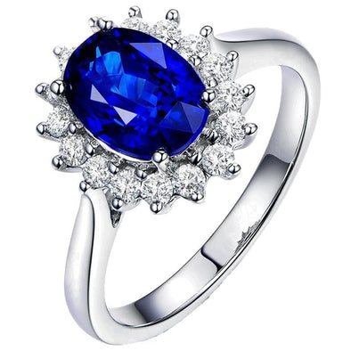 Halo Ring US4 2 CT Oval Sterling Silver Blue Created Diamond Halo Bridal Ring