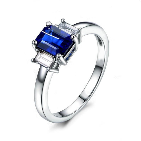 Three Stone Engagement Ring US4 3-Stone Blue Emerald Cut 1ct Created Diamond Ring