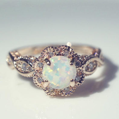 Ring White Opal Rose Gold Ring FHR077