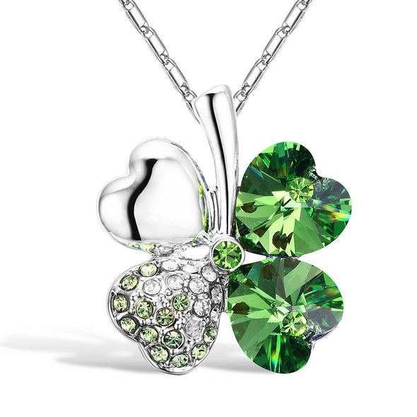 Jewelry Green Four Heart Clover Necklace