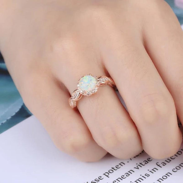 Ring Free - WHITE OPAL ROSE GOLD RING FHR077