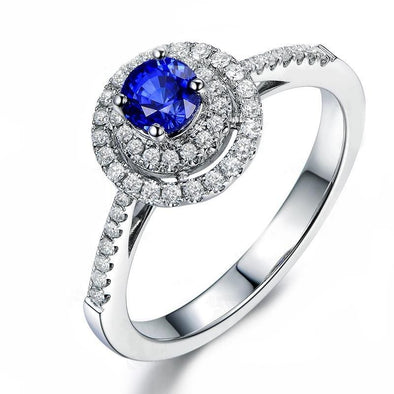 Halo Ring Brilliant  Round Sterling Silver Blue Created Diamond Halo Bridal Ring