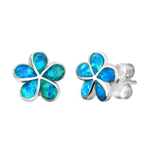 Jewelry Blue Opal Flower Earrings