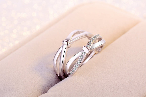 Couple Ring Couple Rings / Adjustable Women Men 925 Silver Bow Opening Pair Love Couple Ring FHR097