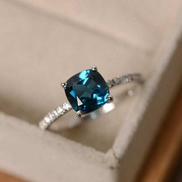 Ring Peacock blue / 6 2020 New inlaid London Blue Topaz Diamond Ring FHR031