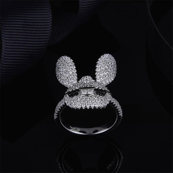 Animal Ring US5 S925 Pure Silver High-End Micro Inlaid Crystal Diamond Lovely Glasses Rabbit Ring