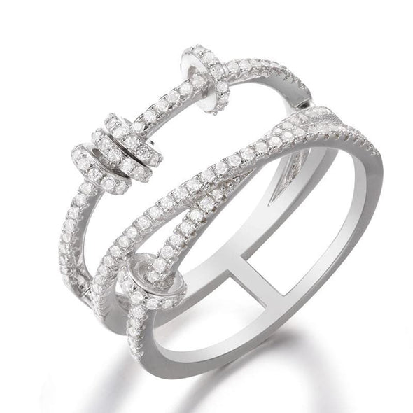 Knot Ring Criss Cross Created Diamond Sterling Silver Ring