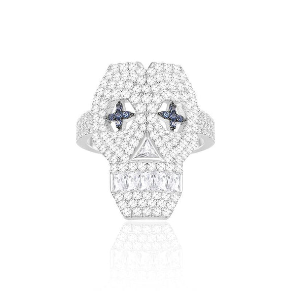 Skull Ring Sterling Silver Created Diamond Skull Element Ring