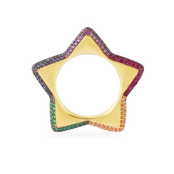 Nature Ring Sterling Silver Rainbow Star Ring