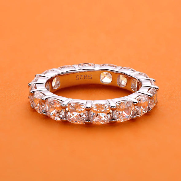Eternity Band Full Eternity Cushion Cut Created White Diamond Ring