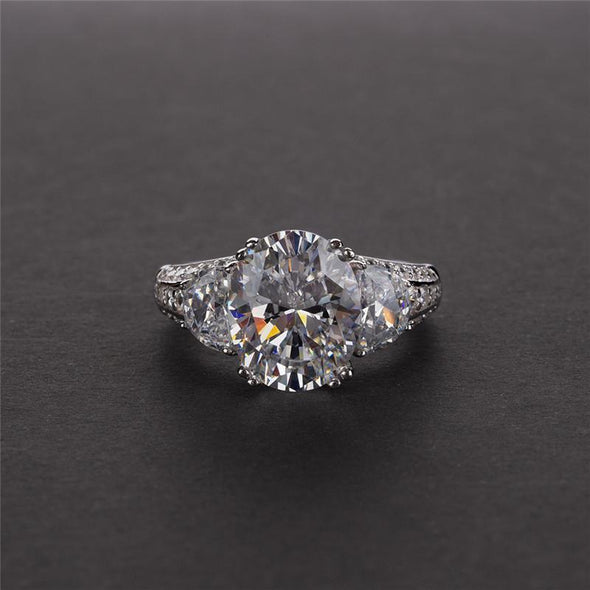 Three Stone Engagement Ring Oval Cut Three Stone Created Diamond Ring