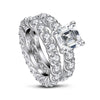 Bridal Ring US4 Asscher Created White Diamond Eternity Ring Bridal Set