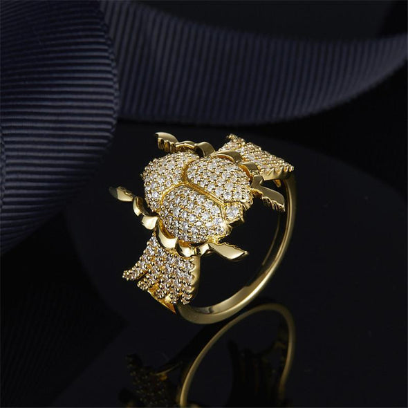 Animal Ring US5 S925 Pure Silver High-end Micro Inlaid Crystal Diamond Fashion Personality Scarab Ring