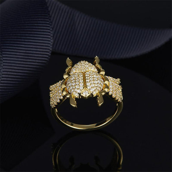 Animal Ring S925 Pure Silver High-end Micro Inlaid Crystal Diamond Fashion Personality Scarab Ring