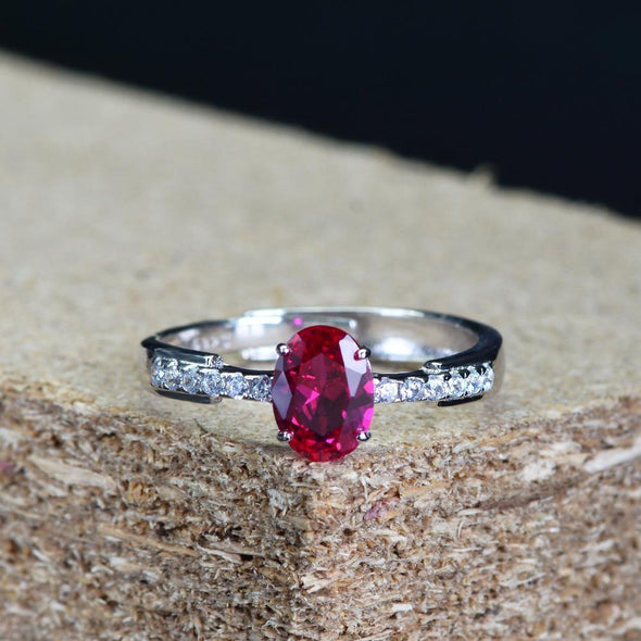 Classic Engagement Ring Red Oval Cut Adjustable Wrap Open Ring