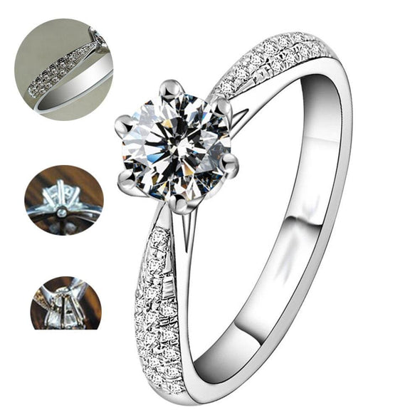 Classic Engagement Ring Round Cut 6-Prong Created Diamond Ring